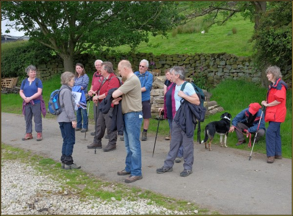 History Walkers at the site of the 'Bug and Flea Hotel' - the hostel for itinerant farm workers near Northdale Farm
