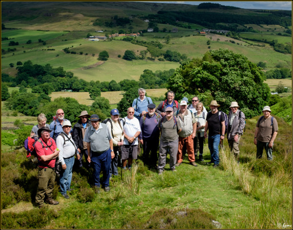 The walking group on the Sheriff's Pit platform above Medd's Farm