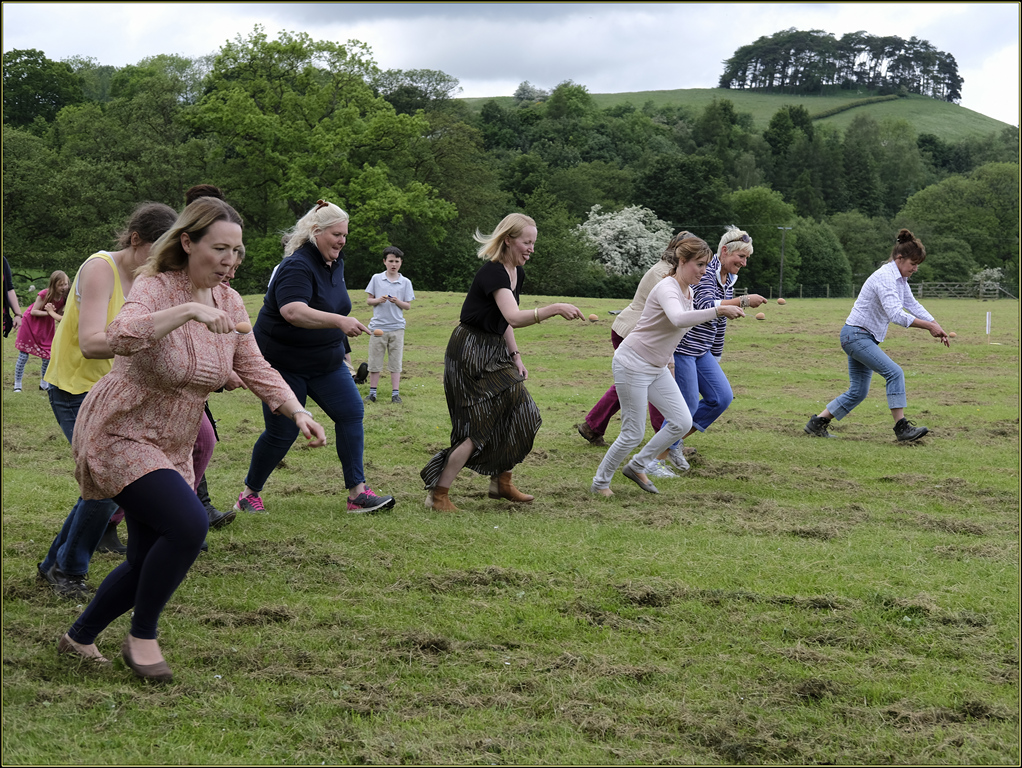 The mums' egg and spoon race