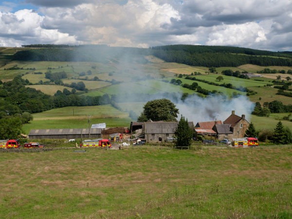 Fire engines at Newlands Farm